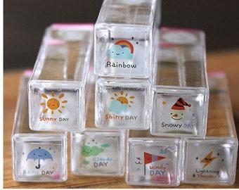 Cute DIY Crafts Crystal Rubber Weather Stamp Set  8 Pcs/Set