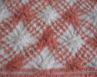 "Cotton CHENILLE Bedspread | White and Coral Pink | Full or Double | 90"" x 104"""