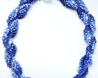 Beaded swirl Necklace - Blue, white - Handmade - Womens Jewelry - Colorful