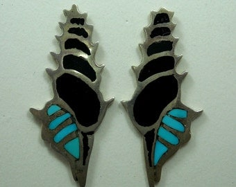 Turquoise & Black Coral Earrings