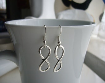 Infinity Earrings - Antique Silver Infinity Earrings - Infinity Charm Earrings -  Infinity - Nickel Free