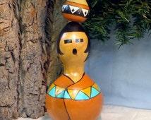 Southwestern Native American inspired hand painted gourd art figure by Debbie Easley
