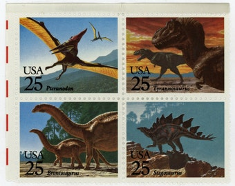 25 year old,  4, U.S. Stamps, Date, 1989, Scott # 2425a, Prehistoric Aminals,  Un-Used,   Very fine to mint state.   615a