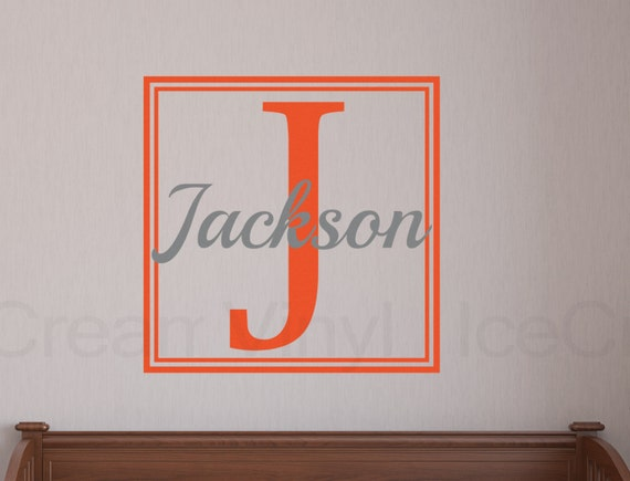 Custom Name Decal Nursery Vinyl Wall Decal -Name and Initial Wall Decal- Boy's Room Girl's Room