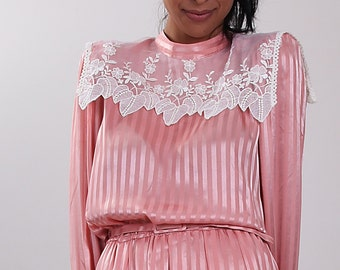 Vintage 70's Musk Pink Dress with Lace Neck Detail.