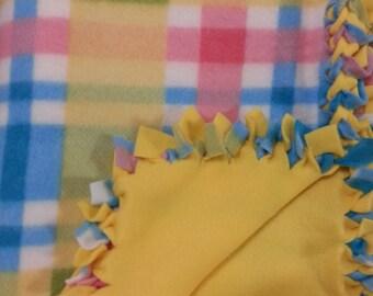 Nursery Plaid Fleece No Sew Baby Blanket