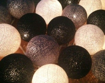 20 light  Gray tone cotton ball Bali string light wedding party display light decor room indoor outdoor