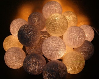 Mixed 20 Light Gray cotton ball string lights for Patio,Wedding,Party
