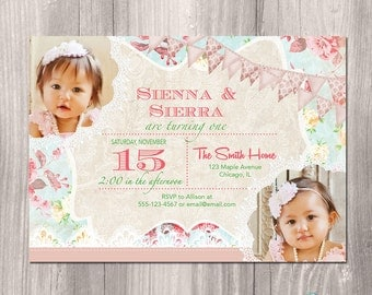 Tea Party birthday Invitation Shabby Chic Birthday
