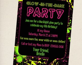 Customized Glow In The Dark Party Invitation