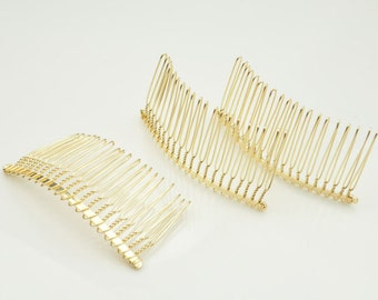 20 teeth,Gold Plated Metal Hair Combs 75 x38mm(20pcs)