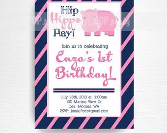 Pink Hippo Birthday Party Printable Invitation YOU Print