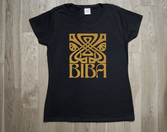 T-Shirt BIBA 60s fashion store. Mod, Swinging London, Twiggy. Repro