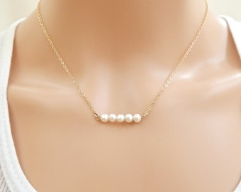 Pearl Bar Necklace, Pearl Jewelry, Cultured Pearl Bead Necklace