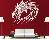 Dragon Head Mythical Creatures Wall Sticker White