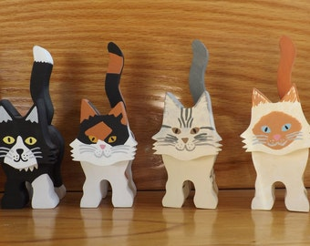 Wooden Cat Figurine - Two Colors in Various Patterns - Custom Made