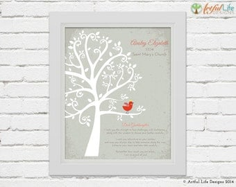 BAPTISM GIFT for GODDAUGHTER, Personalized Goddaughter Gift, Baptism Tree, Baby Girl Baptism, Gift from Godparents, Baptism Prints