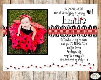 Little Lady Bug Photo Birthday Invitation