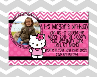 Customizable Hello Kitty Girl Birthday Card/Invitation With Picture