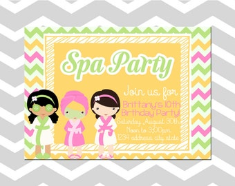 Spa Birthday Party Invitation/Card