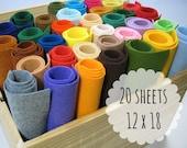 Wool Blend Felt Sheets, 12 x 18 inches - Large Felt Sheets - Felt Fabric - Choose 20 Colors
