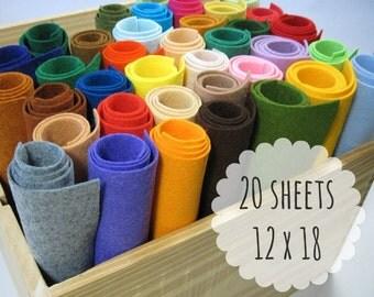 Wool Blend Felt Sheets, Choose 20 Colors, 12 x 18 inches, Craft Felt