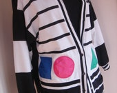 Vintage 1980s  Hudson's Bay Ltd.edition Hip hop geometric shapes black and white stripes  embroidered sports/ preppy cardigan