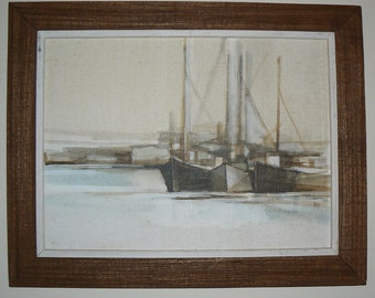Mid-century modern vintage painting of sail boats in harbor