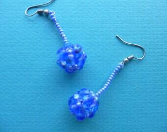 Vintage Earrings Blue Beaded Dangle Ball Earrings