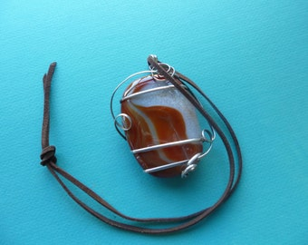 Agate Pendant Wrapped in Sterling Silver on Leather Choker Necklace 1980s