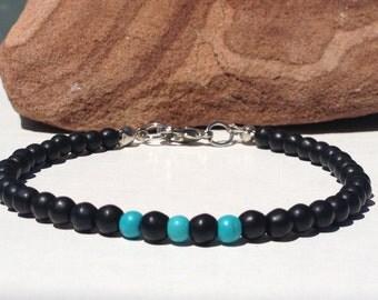 FREE SHIPPING-Men Bracelet,Black Onyx Bracelet,Men Stone Bracelet,Turquoise Bracelet,Small Men Bracelet,Men Beaded bracelet,Bracelet For Men
