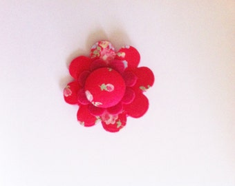 Felt & fabric flower brooch