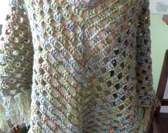 Poncho shawl,  crochet poncho,  mixed greens,  with fringe,  shell edging, neck edging,  ladies size, Afghan stitch, blended colours
