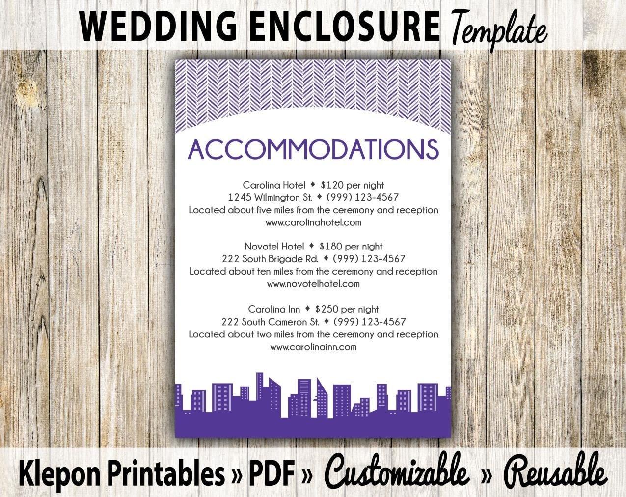 wedding enclosure card modern skyline theme by