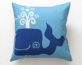 Blue Whale Pillow Cover 16 inch, Decorative Throw Pillow Cover, Cushion Cover, Sham