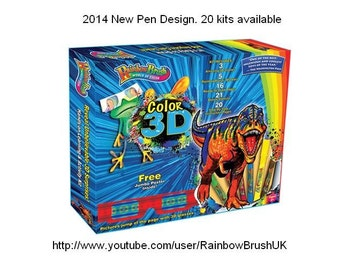 Rainbow Brush - DINOSAUR 3D + 10 extra PENS - Blendable, Self-cleaning, Watercolour Calligraphy Brush pens, clip together