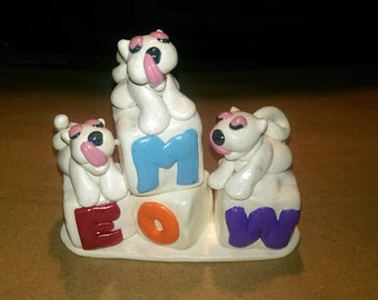 "3"" Custom Made Polymer Clay Figurine (Kitty Kats on Blocks) ""This is made to order"" Message me!!! :)"