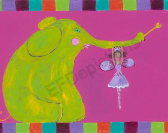 African American Fairy Placemat with Elephant