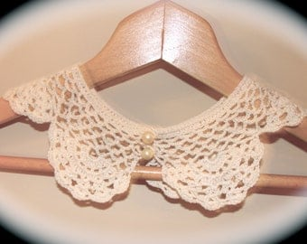 Vintage (2) Women's Crocheted Collars Pearl Buttoned Handmade~Gift