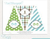 INSTANT DOWNLOAD | Little Man Bow Tie 1st Birthday High Chair Bunting Banner | Printable