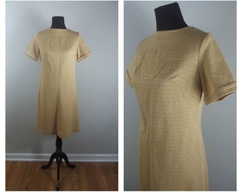 60s Mod Dress Mad Men Camel Tan Beige Neutral Short Sleeve Scooter Shift Dress Sz M-L