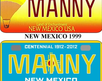 Personalized New Mexico 1999,  2010 BICYCLE replica license plate accessory overlaminated