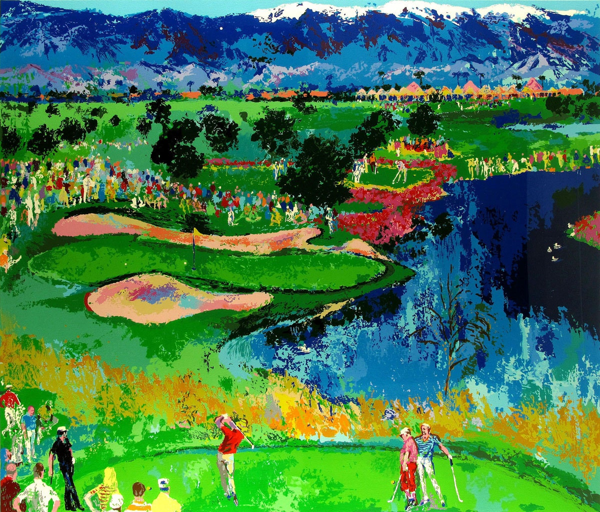 leroy neiman the lake golf field oil by antsartworkoffice. Black Bedroom Furniture Sets. Home Design Ideas