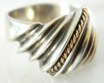 Gorgeous Dual Metal Sterling Silver 14K Gold Ring