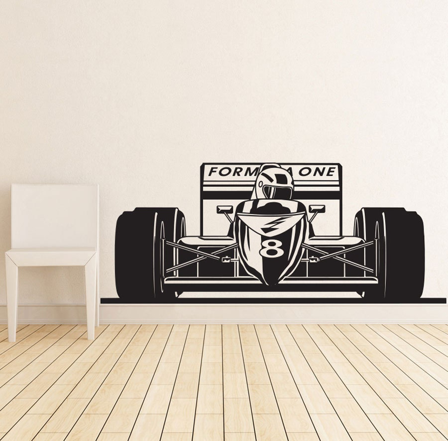 Formula 1 sports race car racing wall decal vinyl poster decor for Cars wall mural sticker