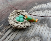 Bird Nest Necklace, Egg Nest Necklace, Eggs in Nest Jewelry, Eggs Pendant, Bird Egg Necklace