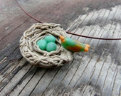 Bird Nest Necklace, Egg Nest Necklace, Eggs in Nest Jewelry, Eggs Pendant, Bird Egg Necklace