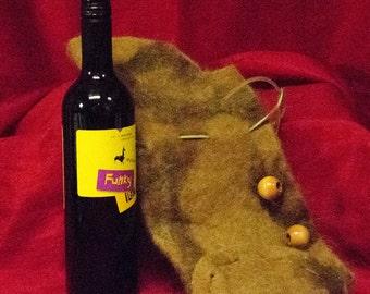 Alpaca wet felted handmade wine cozy