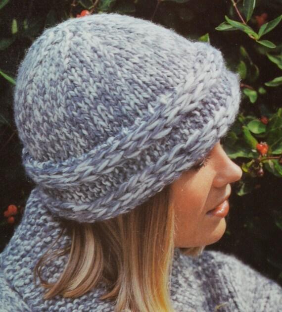 Vintage Knitting Pattern Beret : PDF womens hats vintage knitting pattern beret peaked hat