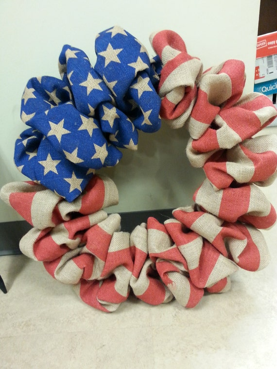 Fourth Of July Burlap Wreath With Blue And White Star Burlap